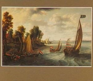 Riviergezicht met enkele zeilscheepjes; in de achtergrond de stad Antwerpen