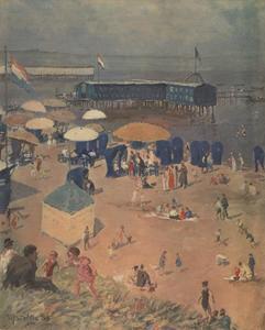 Mensen op een zonnig strand