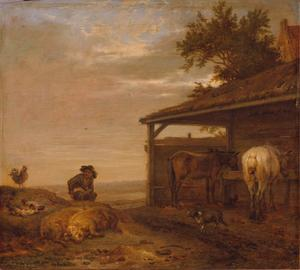 Landbouwer in de mist