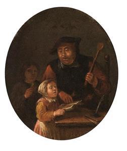 Leraar met een zingend meisje en een jongen in een interieur