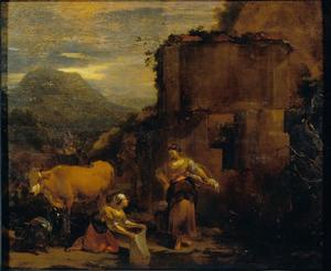 Ruïnes met vee en vrouwen