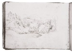 Heuvellandschap met een fantastisch kasteel en een watermolen