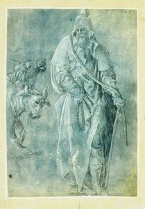 Oude man met rozenkrans en kruk (Antonius abt?); os en ezel