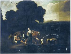 Bebost landschap met rustend vee en herders in gesprek