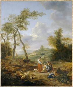 Landschap met figuren (Elkana en zijn vrouwen Anna en Pennina?)
