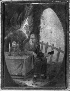 Zittende kluizenaar in een grot met gebedenboek