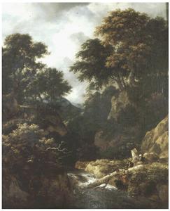Boomrijk berglandschap met vissers en rustende reizigers bij een stroomversnelling