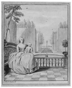 Portret van een vrouw met kind in een tuin