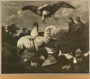 Kemphanen in een landschap, op de voorgrond een vijver met eenden