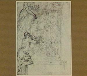 Vrouwelijke genieën onthullen een schilderij met een voorstelling van Chronos als vernietiger van het leven