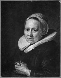 Portret van een vrouw met plooikraag en vleugelmuts, mogelijk Dou's moeder Maria Jansdr. van Wassenaer
