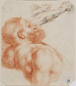 Studies van een achterover leunende man ten halven lijve en armen