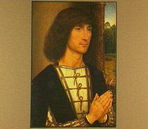 Portret van een man (op de achterzijde: een majolicavaas met een boeket van lelie, iris en akelei)