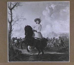 Landschap met officier te paard, op de achtergrond een ruitergevecht
