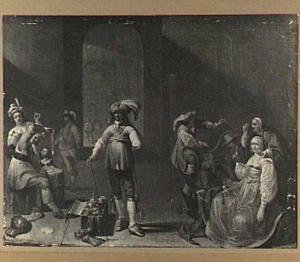 Scene in een wachtkamer met kaartspelers en plunderaars