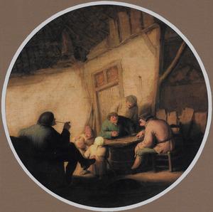 Triktrak spelende boeren in een herberg