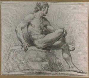Zittend mannelijk naakt, van opzij gezien