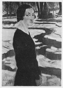 Portret van een vrouw in een boslandschap