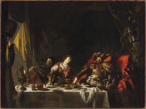 Judith feestend met Holofernes in diens tent (Judith12:19-20)