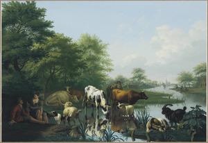 Landschap met vee bij een sloot