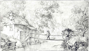 Rivierlandschap met figuur op een houten brug