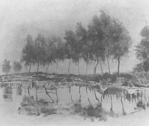Bend in the Gein with row of eleven poplars I