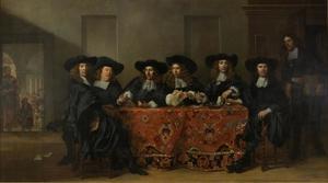 Zes regenten en de binnenvader van het Oudezijdszitten- en aalmoezeniershuis te Amsterdam
