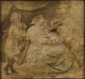 Peter Paul Rubens (1577-1640) met zijn tweede vrouw Hélène Fourment (1614-1673), zijn zoon Nicolaes (1618-1637) en zijn dochter Clara-Johanna (1632-1689)