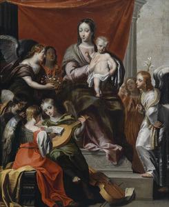 Tronende Maria met kind, temidden van musicerende engelen