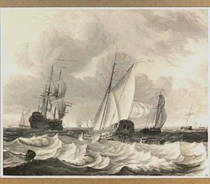 Statenjacht en andere schepen op woelig water