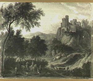 Heuvellandschap met elegant gezelschap, een kasteel in de achtergrond