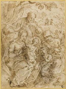 H. Familie met H. Elizabeth en het kind Johannes de Doper, op de achtergrond de vlucht naar Egypte