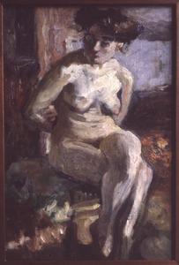 Zittende naakte vrouw
