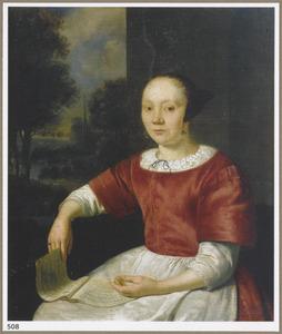 Jonge vrouw met een muziekboek