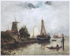 Boten op een rivier in de buurt van Dordrecht