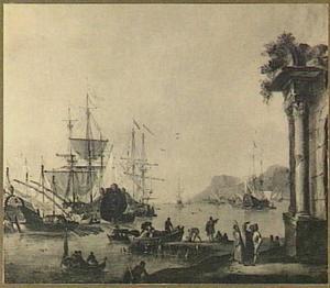Gezicht op een mediterrane haven met verschillende schepen