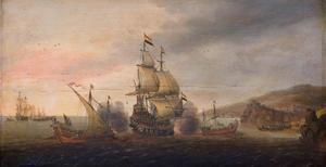 Zeegevecht tussen Hollandse oorlogsschepen en Spaanse galeien; rechts een bergachtige kust met een stad
