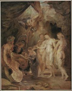 De opvoeding van Maria de' Medici door de drie Gratiën en Minerva