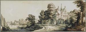 Rivierlandschap met een klooster