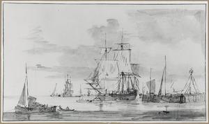 Zeilschepen  voor anker bij een steiger