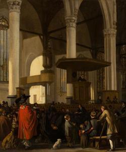 De Oude Kerk in Amsterdam tijdens een dienst