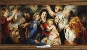 De Heilige Familie met Johannes de Doper, zijn ouders en engelen