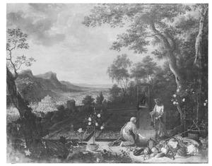 Landschap met Christus als tuinman herkend door Maria Magdalena