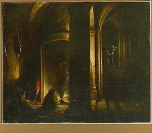 Wachtlokaal met slapende soldaten; op de achtergrond de bevrijding van Petrus (Handelingen 12:6-10)