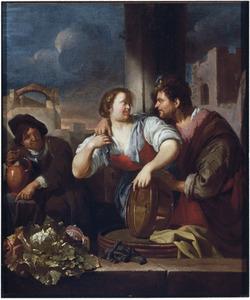 Een man belaagt een keukenmeid; een drinkende soldaat kijkt toe