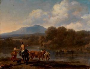Rivierlandschap met vee dat de rivier oversteekt met een berg in de verte