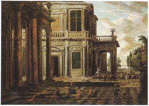 Terras van een paleis met musicerend gezelschap