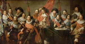 Officieren en vaandeldragers van de Oude Schutterij te Alkmaar