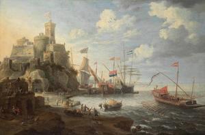 Schepen in een mediterrane haven bij een fort