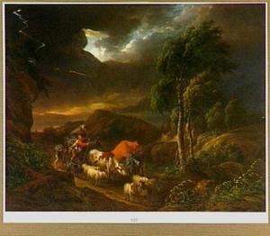 Heuvelachtig landschap met herdersfamilie en vee tijdens onweer
